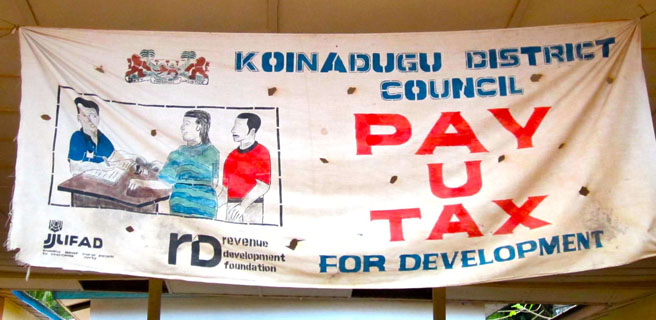 A tax sign in Sierra Leone. Credit: Vanessa van den Boogaard